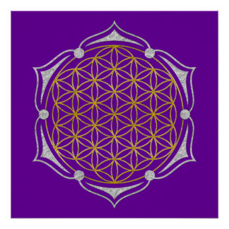 Flower Of Life - Lotus gold silver Poster