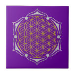 Flower Of Life - Lotus gold silver Small Square Tile
