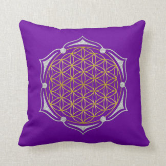Flower Of Life - Lotus gold silver Throw Pillow