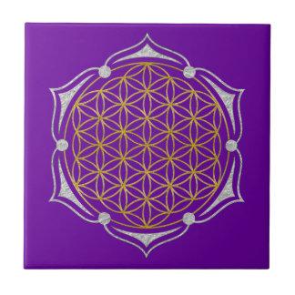 Flower Of Life - Lotus gold silver Tile
