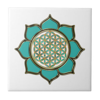 FLOWER OF LIFE - LOTUS ocean green Tile