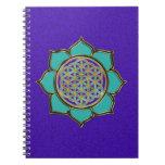 FLOWER OF LIFE - LOTUS ocean green, violet Notebook
