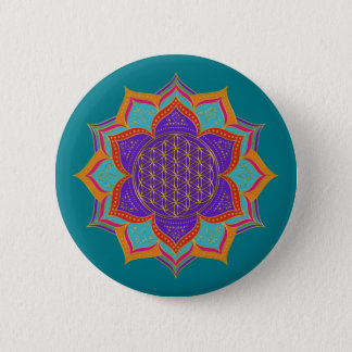 Flower of Life - LOTUS ornaments gold I Button