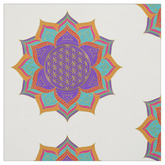 Flower of Life - LOTUS ornaments gold I Fabric