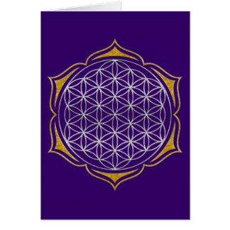 Flower Of Life - Lotus silver gold Greeting Card