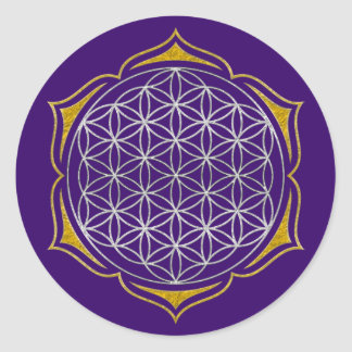 Flower Of Life - Lotus silver gold Classic Round Sticker