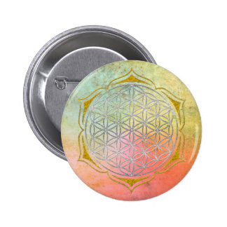 Flower Of Life - Lotus silver gold Pinback Button