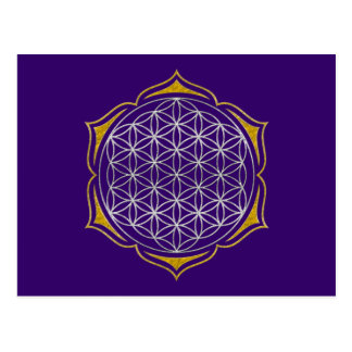 Flower Of Life - Lotus silver gold Postcard