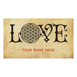 Flower Of Life - LOVE lettering tattoo black Business Card