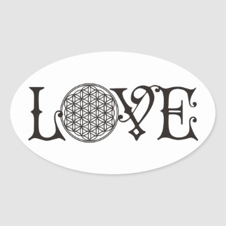 Flower Of Life - LOVE lettering tattoo black Oval Sticker