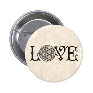 Flower Of Life - LOVE lettering tattoo black Pinback Button
