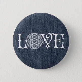Flower Of Life - LOVE lettering tattoo white Button