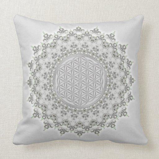 Flower of Life - Mandala grey green Throw Pillow Zazzle