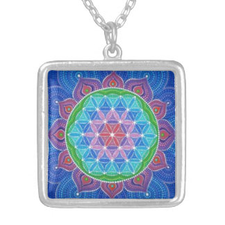 FLOWER OF LIFE MEDIUM SILVER PLATED NECKLACE
