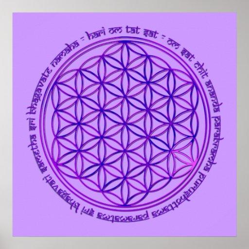 Flower Of Life - Moola Mantra - violet Poster