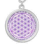 Flower Of Life - Moola Mantra - violet Round Pendant Necklace