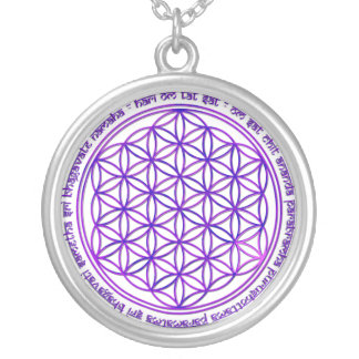 Flower Of Life - Moola Mantra - violet Silver Plated Necklace