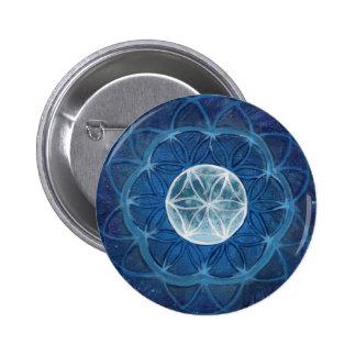 Flower of Life Moon Mandala Button