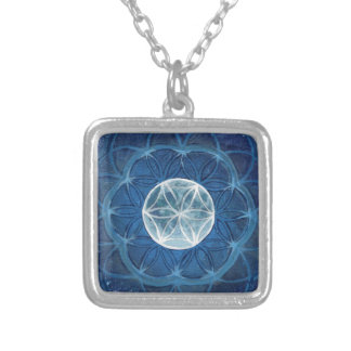 Flower of Life Moon Mandala Silver Plated Necklace