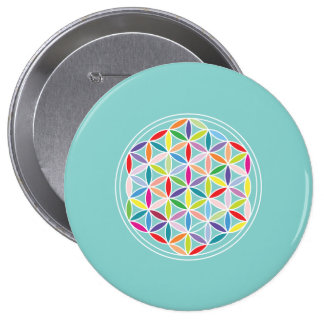 Flower of Life – Multicoloured on Blue 4 Inch Round Button