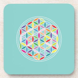 Flower of Life – Multicoloured on Blue Beverage Coaster
