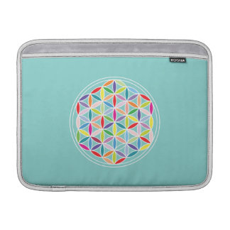 Flower of Life – Multicoloured on Blue MacBook Air Sleeves