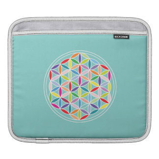 Flower of Life – Multicoloured on Blue Sleeve For iPads
