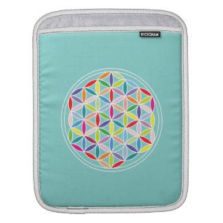 Flower of Life – Multicoloured on Blue iPad Sleeve