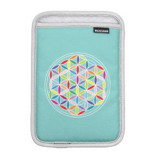 Flower of Life – Multicoloured on Blue iPad Mini Sleeves