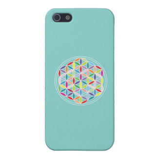 Flower of Life – Multicoloured on Blue iPhone SE/5/5s Cover