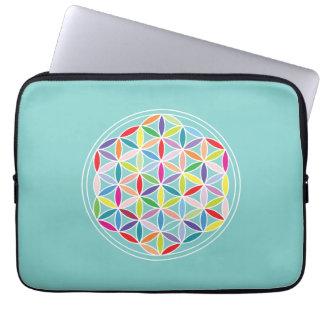 Flower of Life – Multicoloured on Blue Computer Sleeves