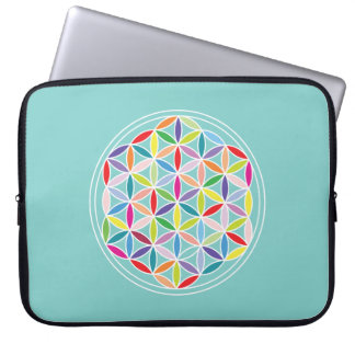 Flower of Life – Multicoloured on Blue Laptop Sleeves