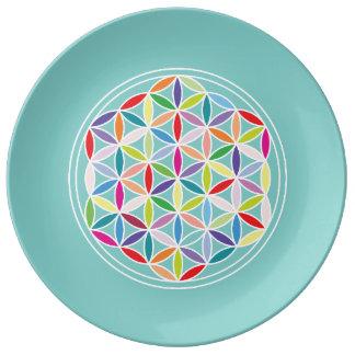 Flower of Life – Multicoloured on Blue Porcelain Plate