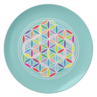 Flower of Life – Multicoloured on Blue Dinner Plates