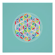 Flower of Life – Multicoloured on Blue Poster