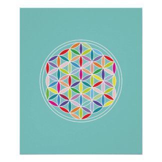 Flower of Life – Multicoloured on Blue Poster