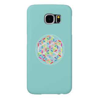 Flower of Life – Multicoloured on Blue Samsung Galaxy S6 Case