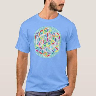 Flower of Life – Multicoloured on Blue T-Shirt