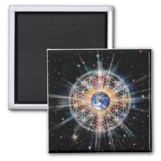 Flower of Life on Earth 2 Inch Square Magnet