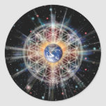 Flower of Life on Earth Classic Round Sticker