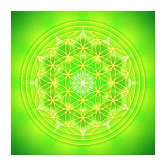 flower OF life on green mandala Canvas Print
