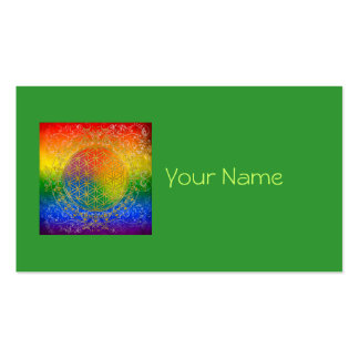 Flower of Life - Ornament Rainbow gold Business Card