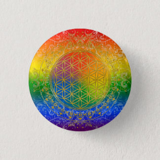Flower of Life - Ornament Rainbow gold Button