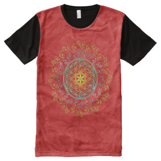 Flower of Life - Ornaments gold silver All-Over Print T-shirt