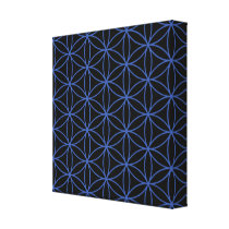Flower of Life Pattern – Blue on Black Canvas Print