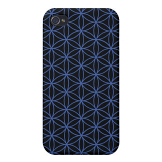 Flower of Life Pattern – Blue on Black iPhone 4/4S Cases