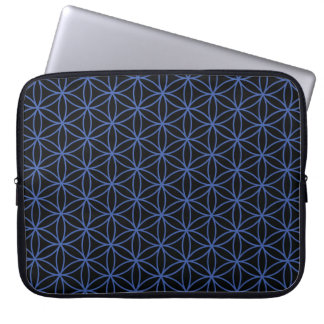 Flower of Life Pattern – Blue on Black Laptop Sleeve
