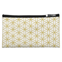 Flower of Life Pattern Gold Makeup Bag