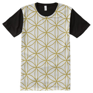 Flower of Life Pattern Gold on White All-Over-Print T-Shirt