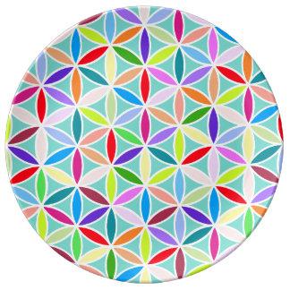 Flower of Life Pattern – Multicoloured Porcelain Plate